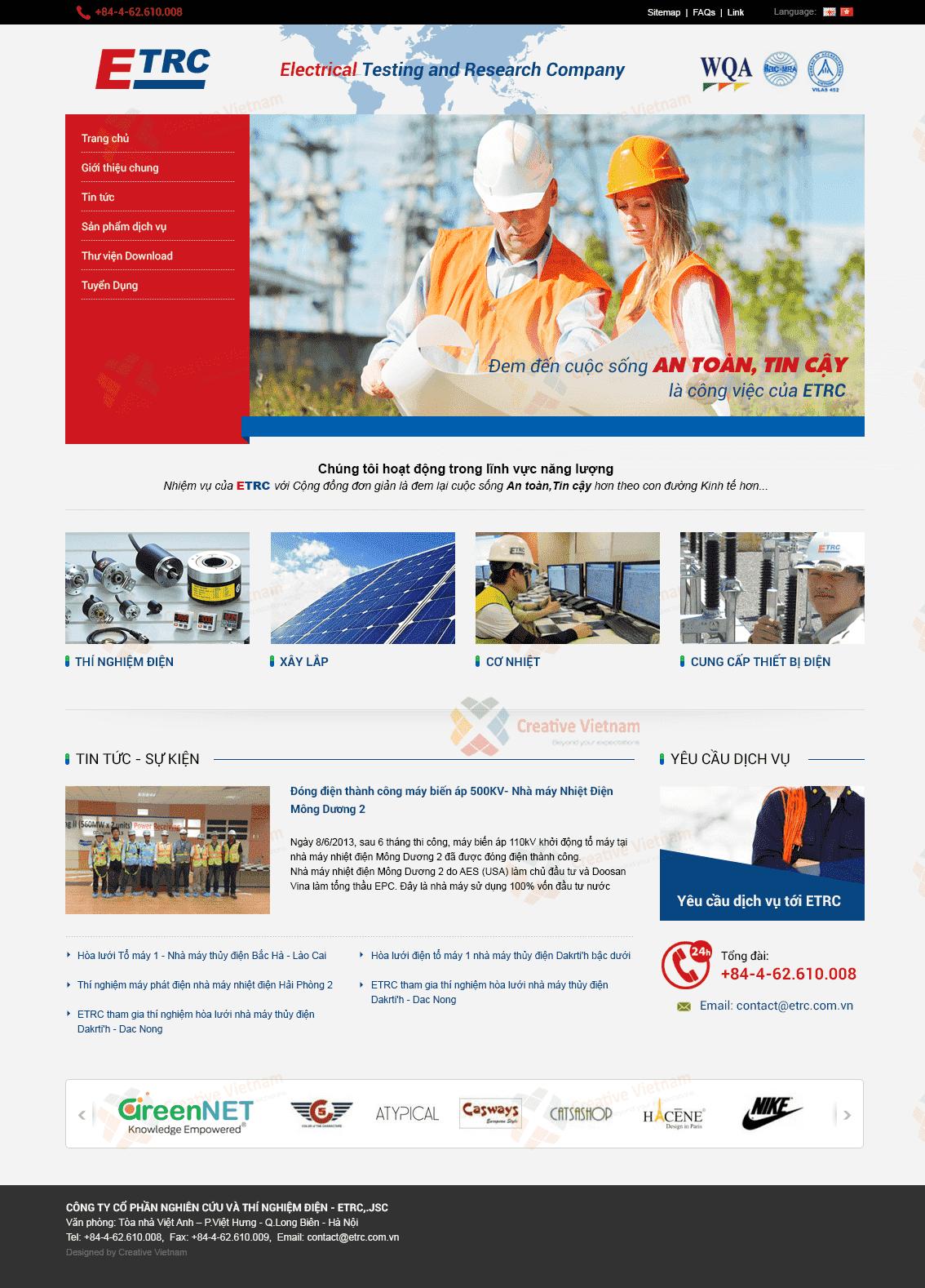 Thiết kế Website Công ty xây lắp điện ETRC